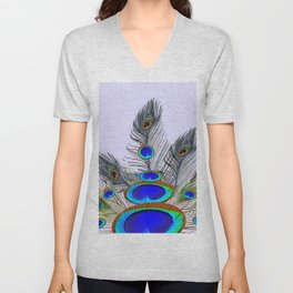 GREEN PEACOCK FEATHER & JEWELS #2 Unisex V-Neck