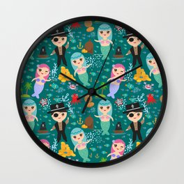 Mermaid with pirate, dark blue sea background Wall Clock