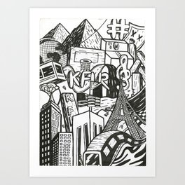 Black and White Graffiti Style Wall Art Art Print