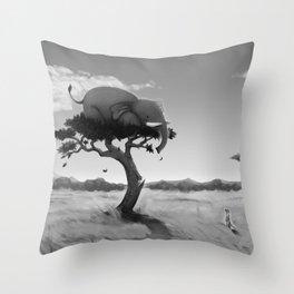 Scaredy Elephant Throw Pillow
