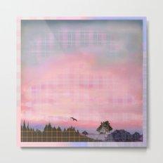 Plaid Landscape Tranquil Sunset Metal Print