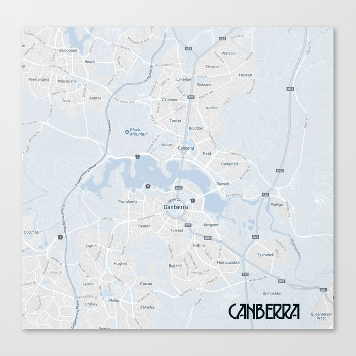 Minimalist Modern Map Of Canberra Australia 3a Canvas