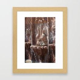 Terracotta Fountain in Natural Sepia Tones Framed Art Print