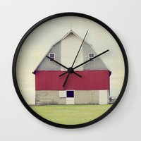 american beauty Wall Clocks featuring American Beauty Vol 17 by Farmhouse Chic