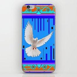 Peace Dove in Blue Ornate Art Pattern iPhone Skin