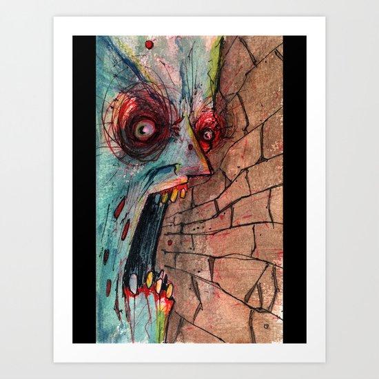 screaming zombie Art Print