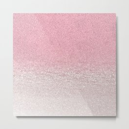 Trendy girly pink gradient elegant glitter Metal Print