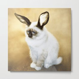Cat Rabbit Metal Print