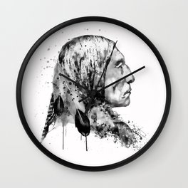 Native American Side Face Black and White Wall Clock