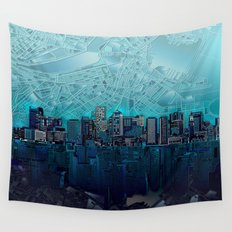 boston city skyline Wall Tapestry