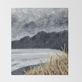 Stormy Beach Throw Blanket