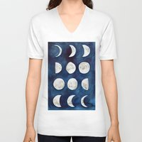 moon phases V-neck T-shirts featuring Moon phases by Bridget Davidson