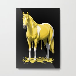Lemon Yellow Dripping Wet Paint Horse Metal Print