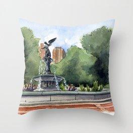 Bethesda Fountain - Central Park Throw Pillow