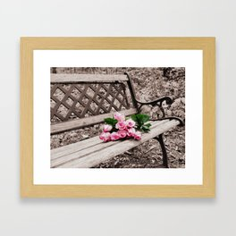 Roses on Bench Framed Art Print