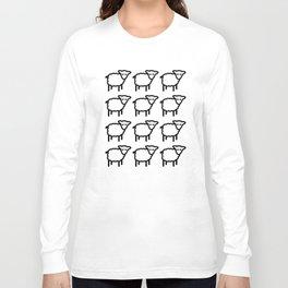 Cute Transparent Sheep Flock in Rows Monotone Light Long Sleeve T-shirt