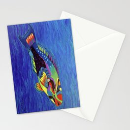 Rainbow parrot fish Stationery Cards