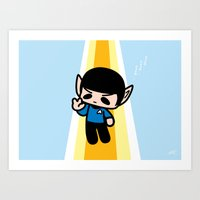 spock Art Prints featuring Spock by Ziqi