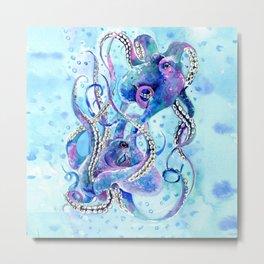 Octopus, Turquoise Blue aquatic Beach design Metal Print