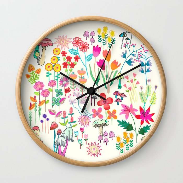 The Odd Floral Garden I Wall Clock