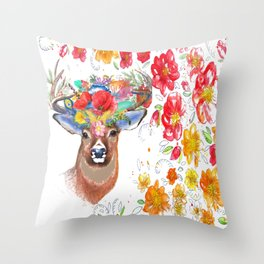 Nature of the Deer Throw Pillow