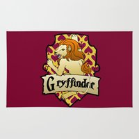 gryffindor Area & Throw Rugs featuring Gryffindor Crest by AriesNamarie