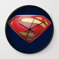 superman Wall Clocks featuring Superman by DeBUM
