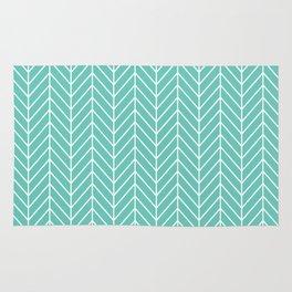 Turquoise Herringbone Pattern Rug