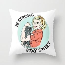 Pitbull Strong Pin Up Throw Pillow