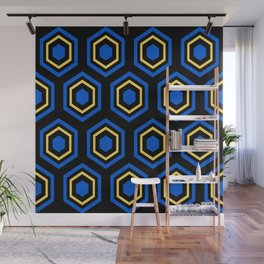 The Hive - Blue-Yellow-Blue Hexagons on Black Background Wall Mural
