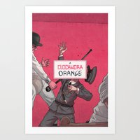 clockwork orange Art Prints featuring Clockwork Orange by Temescu Illustration