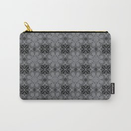 Sharkskin Floral Geometric Carry-All Pouch
