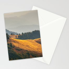 Parallax Landscape Rolling Hills Photo Nature In Morning Sunlight Stationery Cards