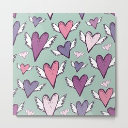 Wedding romantic pattern - hearts with wings sketch retro style Metal Print