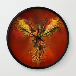Phoenix Rising - red sky Wall Clock