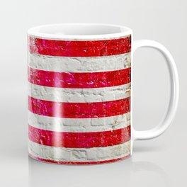 Distressed American Flag On Old Brick Wall - Horizontal Coffee Mug