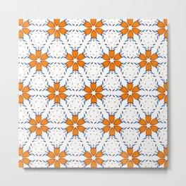 Floral Orange Blue White Pattern Metal Print