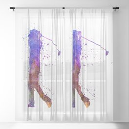 man golfer swing silhouette 01 Sheer Curtain