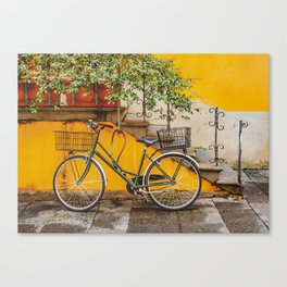 Bicycle Parked at Wall, Lucca, Italy Canvas Print