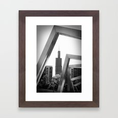 Sears Tower Sculpture Chicago Illinois Black and White Photo Framed Art Print