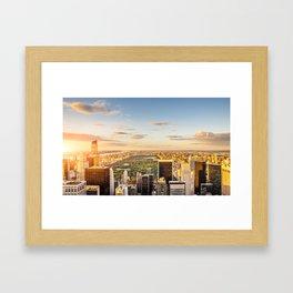 Central park at sunset - aerial view Framed Art Print