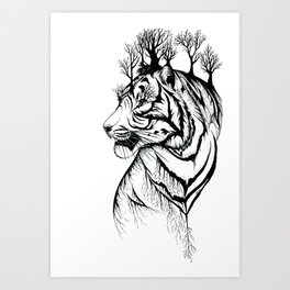 Lady Tiger in the Trees Art Print