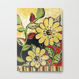 Midnight Blooms. Painting by Sandy Thomson. Yellow flowers.   Metal Print