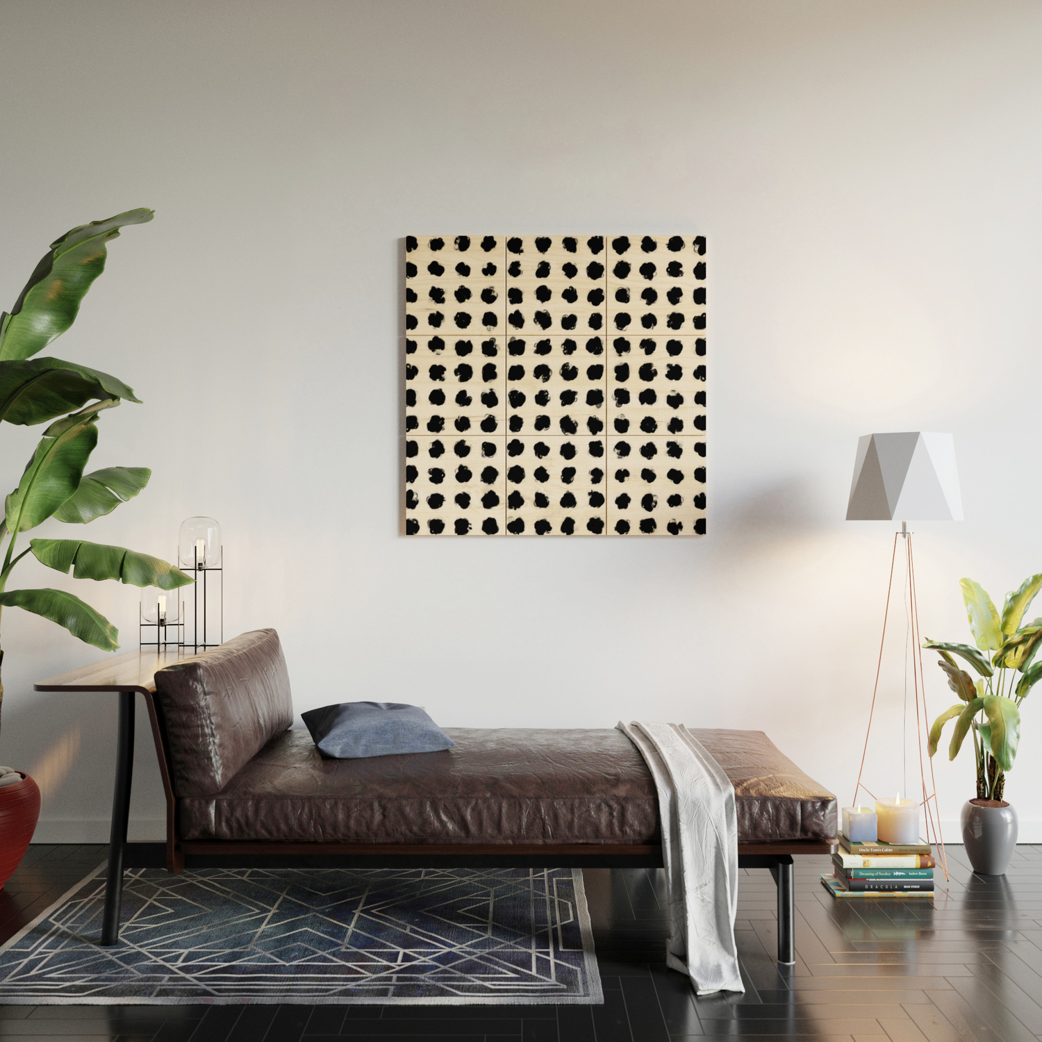 Black and White Minimal Minimalistic Polka Dots Brush Strokes Painting Wood  Wall Art by aej_design