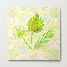 Tropical Leaf Watercolor Painting, Green Palm Tree Leaves Metal Print