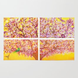Paradise Tree, quadriptych, birds Rug