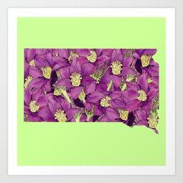 South Dakota in Flowers Art Print