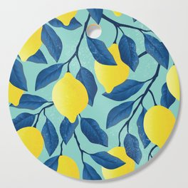 Vintage yellow lemon tree hand drawn illustration Cutting Board
