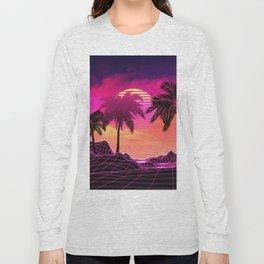 Pink vaporwave landscape with rocks and palms Long Sleeve T-shirt