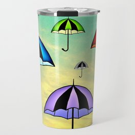Colorful umbrellas flying in the sky Travel Mug